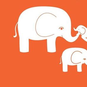 Happy Elephant Family (White on Orange)