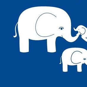 Elephants (white on a deep blue)