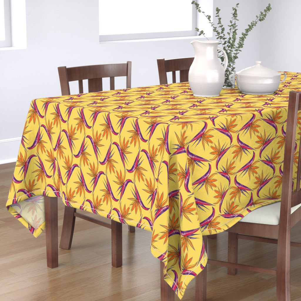 Bantam Rectangular Tablecloth featuring Birds of Paradise by paper_and_frill