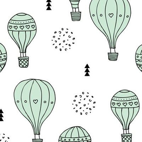 Sweet dreams hot air balloon sky scandinavian geometric style design pastel mint XL
