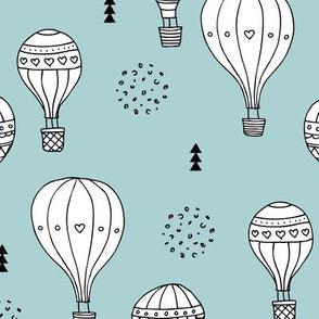 Sweet dreams hot air balloon sky scandinavian geometric style design gender soft blue XL