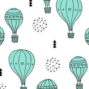 Sweet dreams hot air balloon sky scandinavian geometric style design mint blue