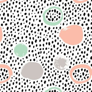 Circles dots and spots raw abstract brush strokes memphis scandinavian style mint coral XS