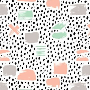 Strokes dots cross and spots raw abstract brush strokes memphis scandinavian style mint coral XS
