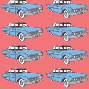 1960 Edsel Ranger light blue car/salmon background