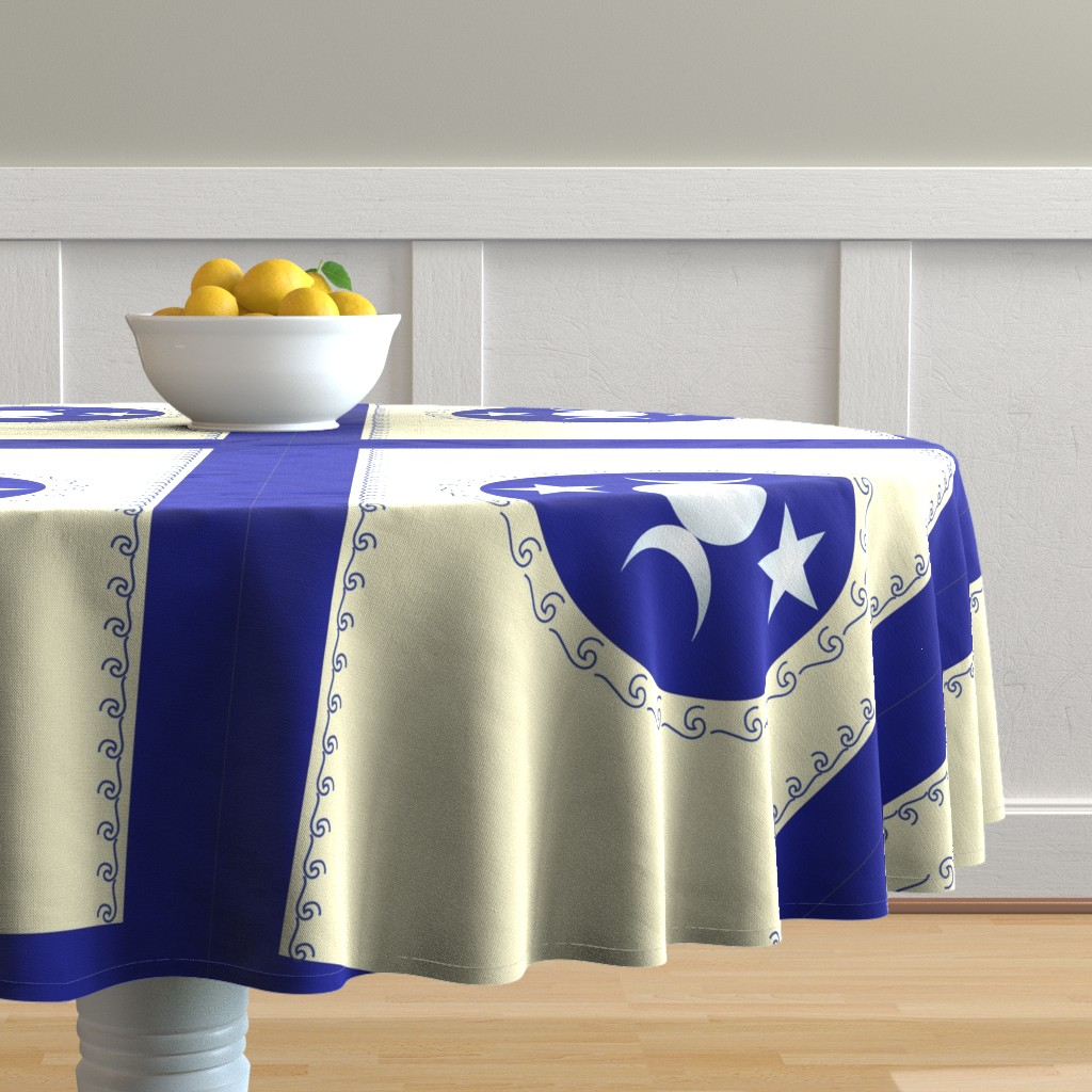 Malay Round Tablecloth featuring Triple Moon Goddess Runner by magicinyourlivingroom