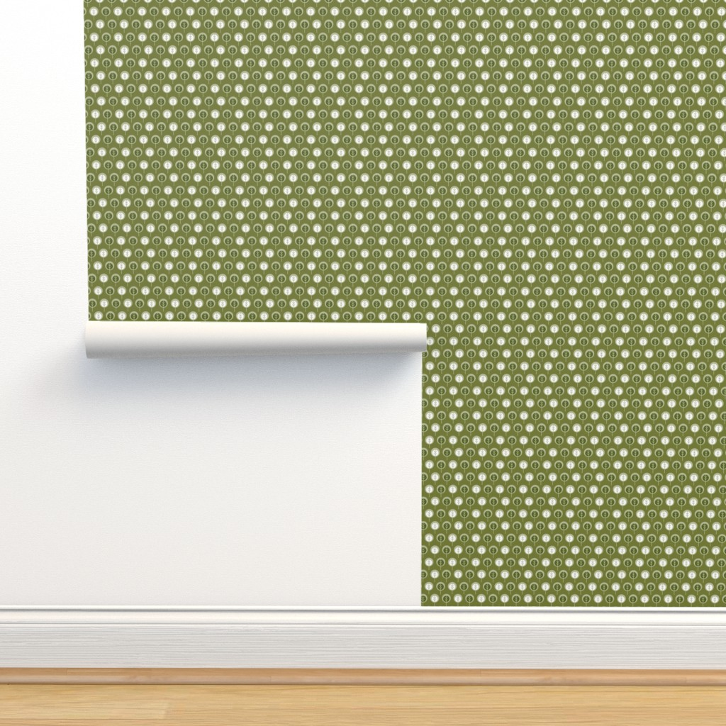 Isobar Durable Wallpaper featuring Trees in Olive by cindylindgren