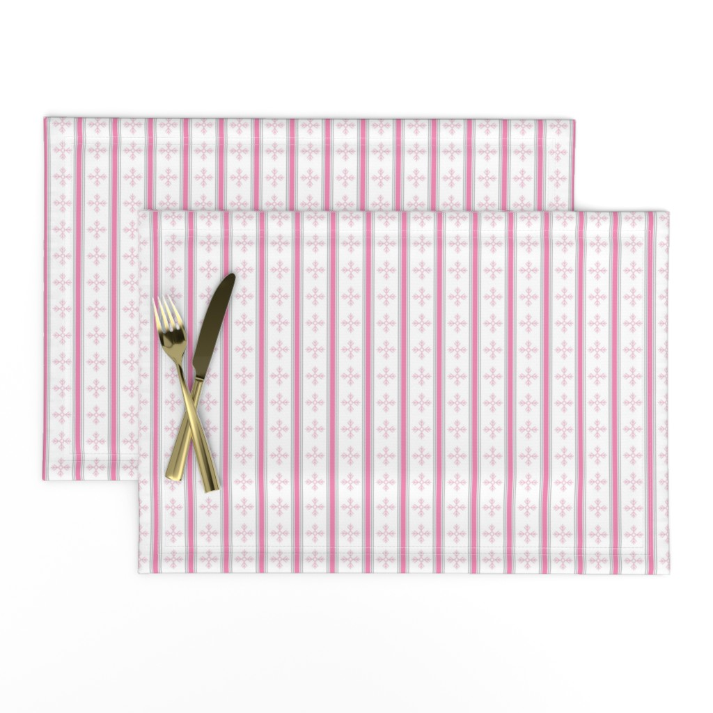 Lamona Cloth Placemats featuring snowflakes in pink by cindylindgren