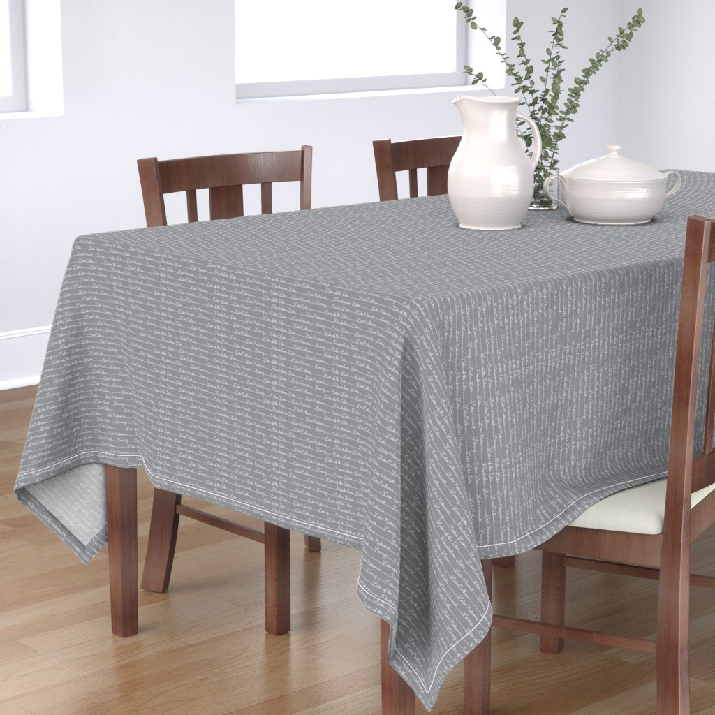 Bantam Rectangular Tablecloth featuring Lake Names in gray by cindylindgren