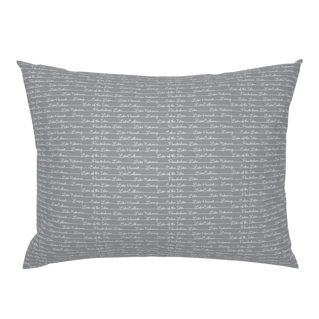 Campine Pillow Sham featuring Lake Names in gray by cindylindgren