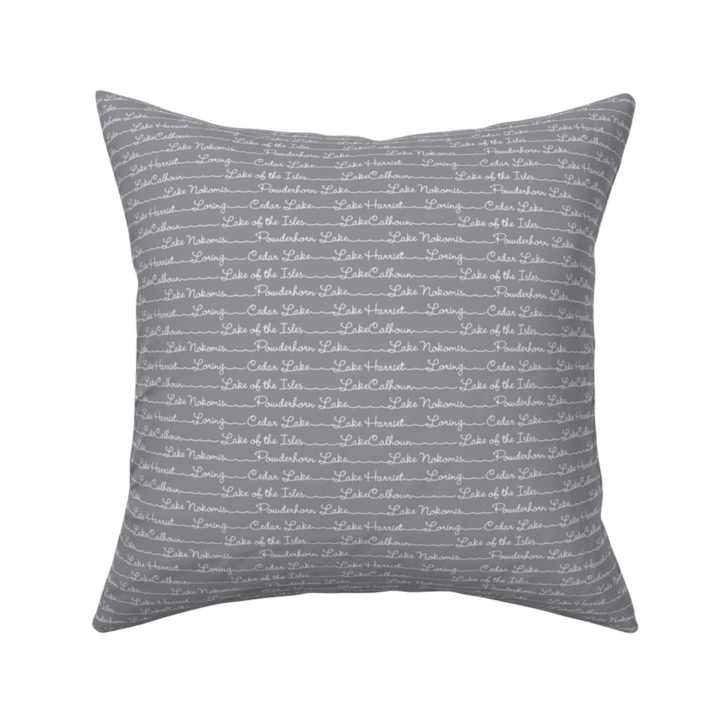 Catalan Throw Pillow featuring Lake Names in gray by cindylindgren