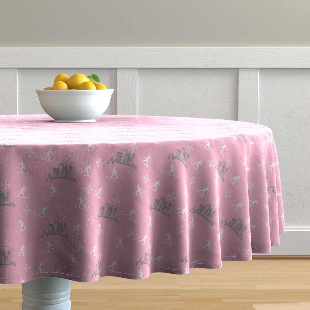 Malay Round Tablecloth featuring Minneapolis Skier, pink by cindylindgren