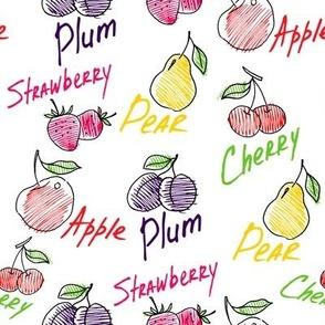 Hand drawn fruits mix seamless pattern