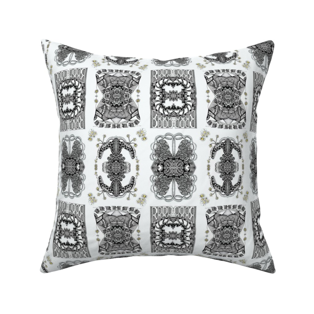 Catalan Throw Pillow featuring Whimsy Bunnies and Butterflies by maryyx
