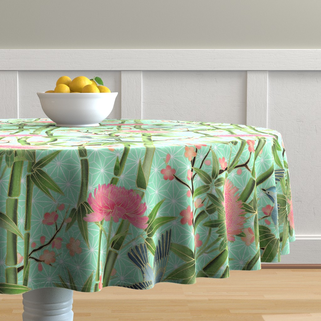 Malay Round Tablecloth featuring Bamboo, Birds and Blossoms on mint by micklyn