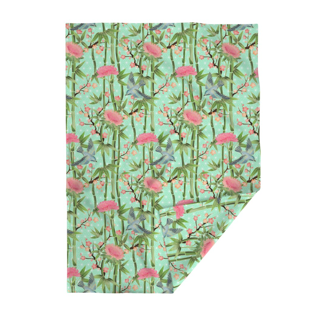 Lakenvelder Throw Blanket featuring Bamboo, Birds and Blossoms on mint by micklyn