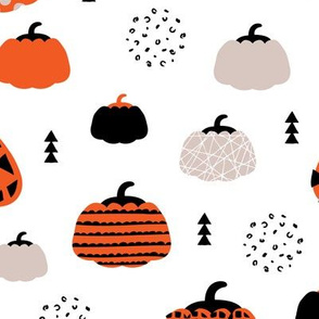Fall fruit geometric pumpkin design scandinavian style halloween print gray orange