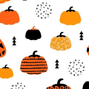 Fall fruit geometric pumpkin design scandinavian style halloween black and white orange