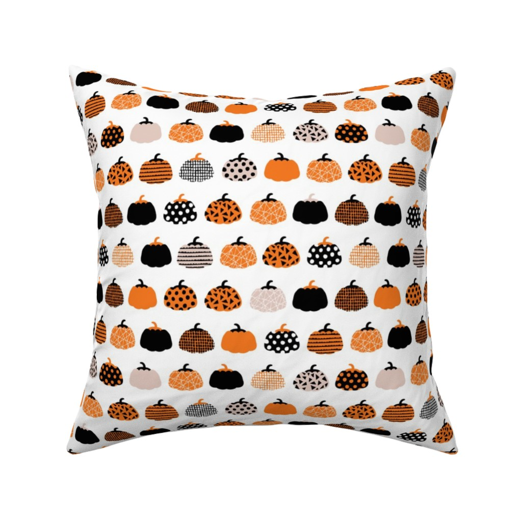 Catalan Throw Pillow featuring Fall fruit geometric pumpkin design scandinavian style halloween print black and white orange by littlesmilemakers