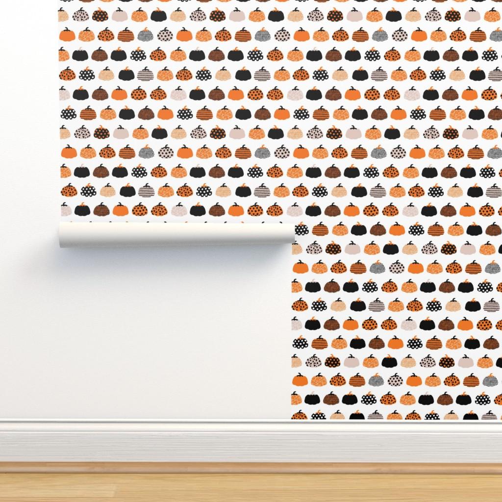 Isobar Durable Wallpaper featuring Fall fruit geometric pumpkin design scandinavian style halloween print black and white orange by littlesmilemakers