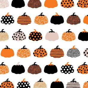 Fall fruit geometric pumpkin design scandinavian style halloween print black and white orange