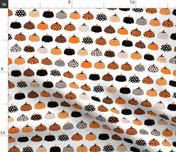 Fabric By The Yard Fall Fruit Geometric Pumpkin Design Scandinavian Style Halloween Print Black And White Orange