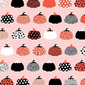 Fall fruit geometric pumpkin design scandinavian style halloween print pink orange