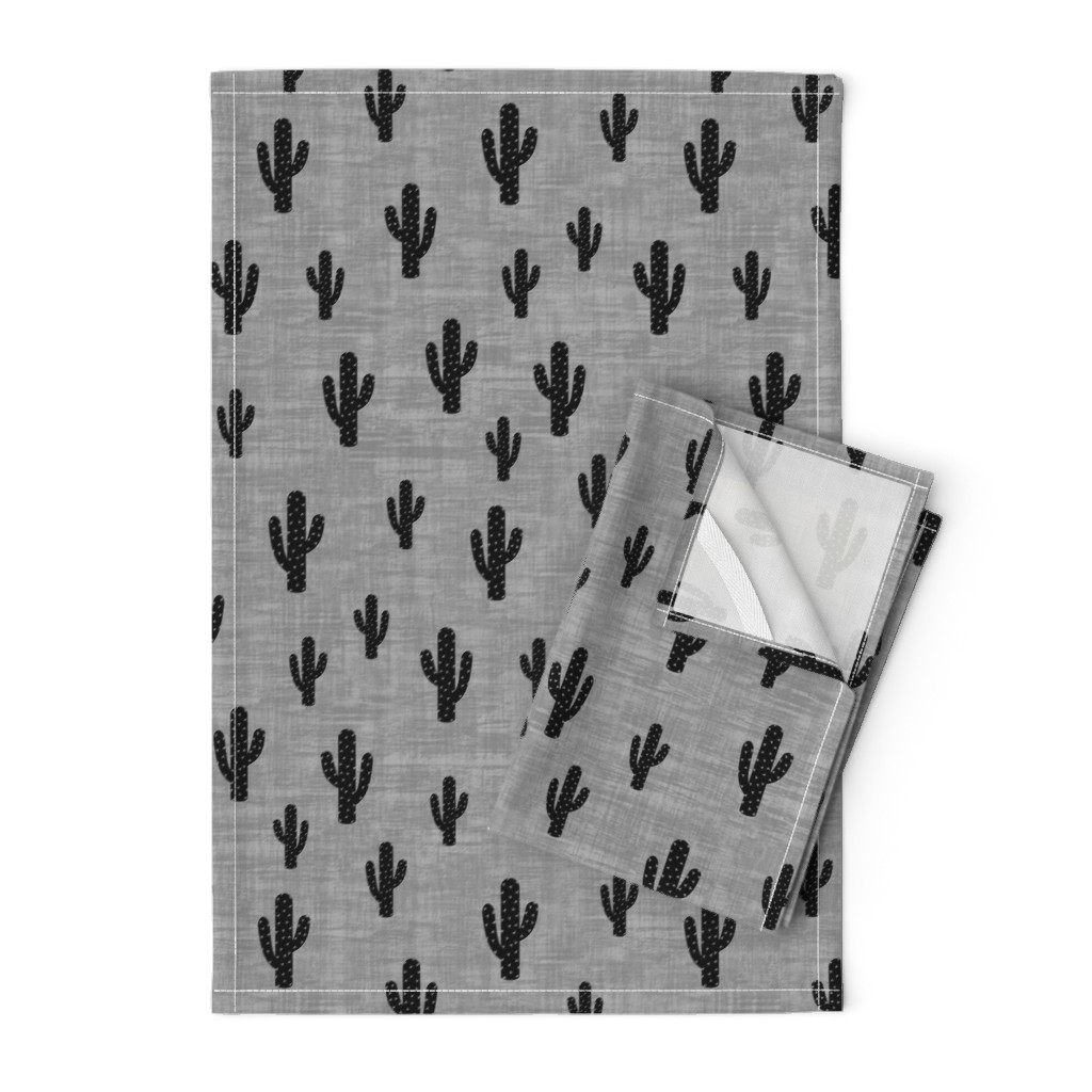 Orpington Tea Towels featuring Cactus - Black Gray Texture by kimsa