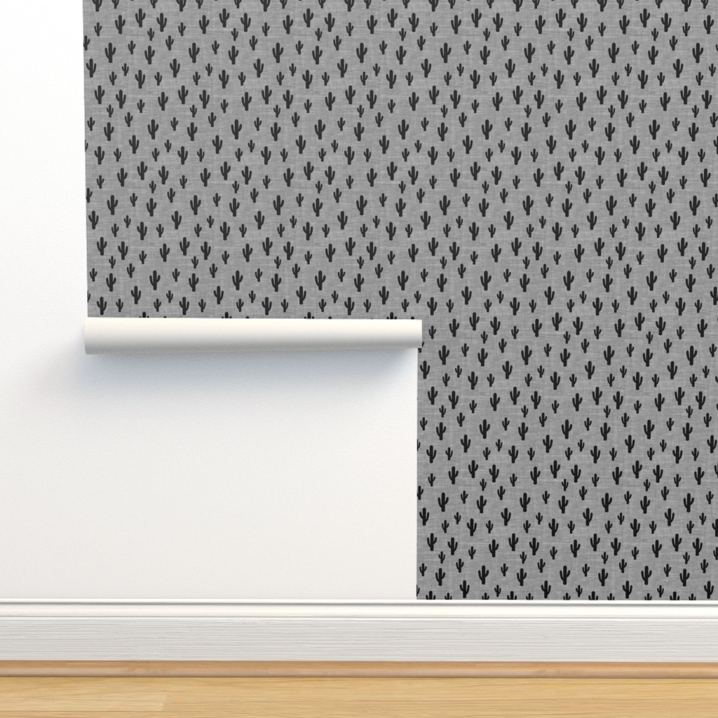 Isobar Durable Wallpaper featuring Cactus - Black Gray Texture by kimsa
