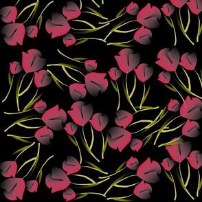 Tulips Pink on Black-ed