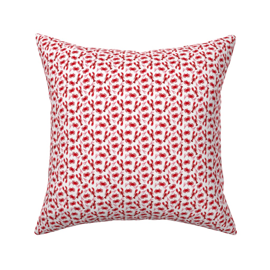 Catalan Throw Pillow featuring crabs and lobsters // ocean mini print super tiny ocean white red nautical summer by andrea_lauren