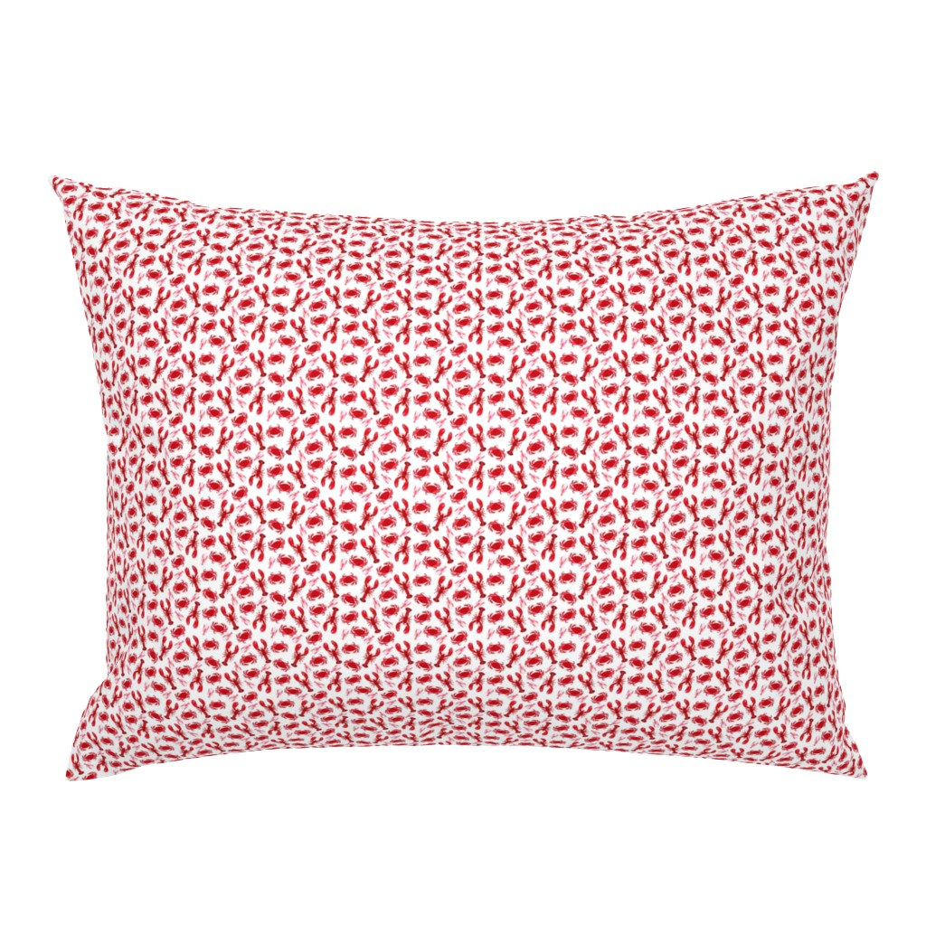 Campine Pillow Sham featuring crabs and lobsters // ocean mini print super tiny ocean white red nautical summer by andrea_lauren