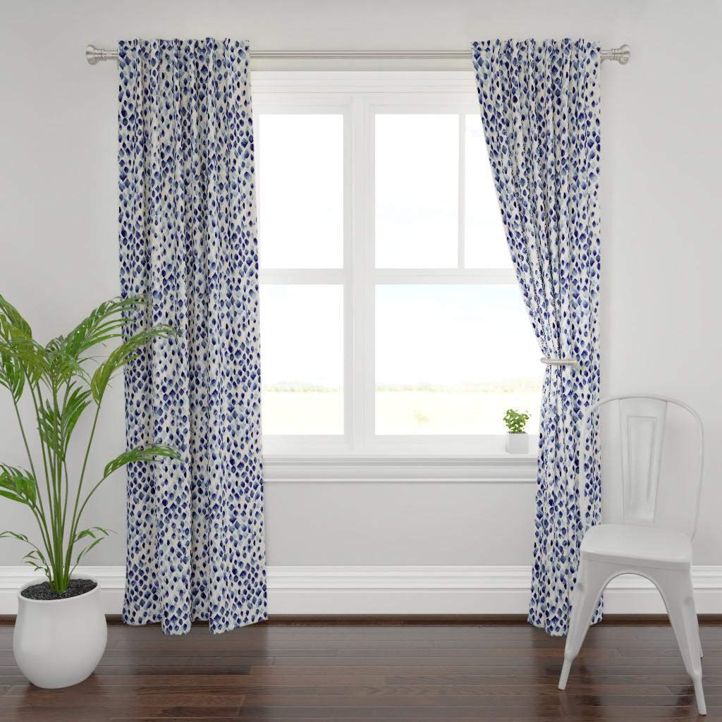 Plymouth Curtain Panel featuring Indigo Rain by crystal_walen