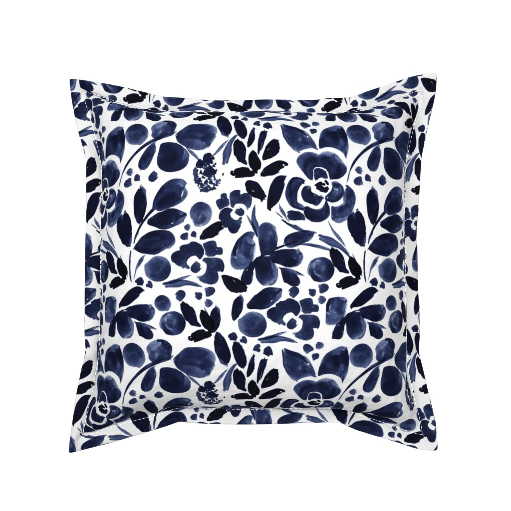 Serama Throw Pillow featuring Navy Floral by crystal_walen