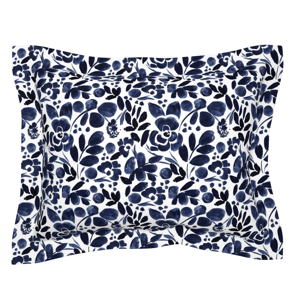 Sebright Pillow Sham featuring Navy Floral by crystal_walen