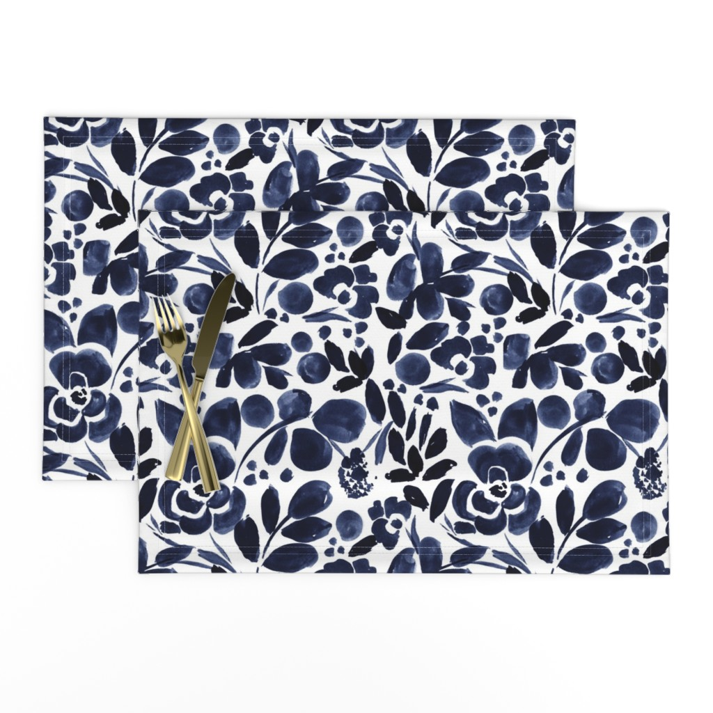 Lamona Cloth Placemats featuring Navy Floral by crystal_walen