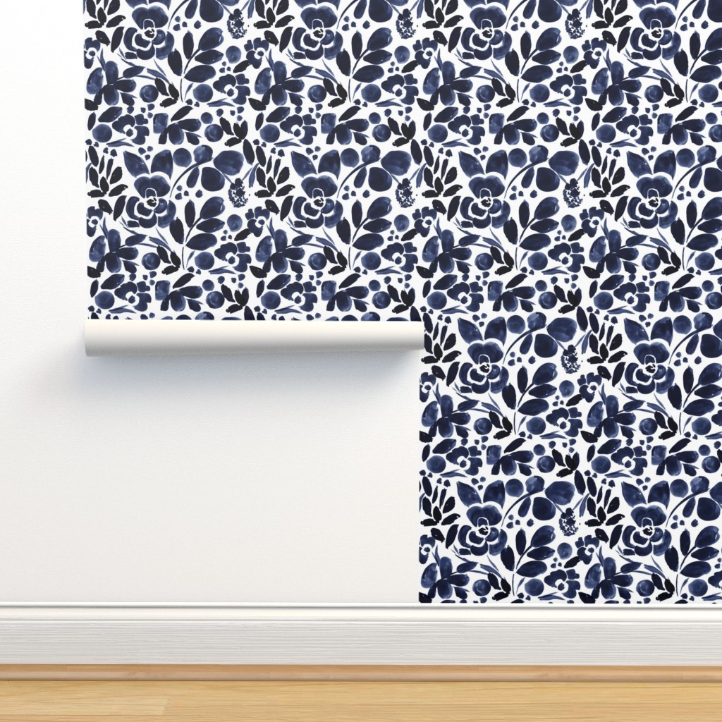 Isobar Durable Wallpaper featuring Navy Floral by crystal_walen