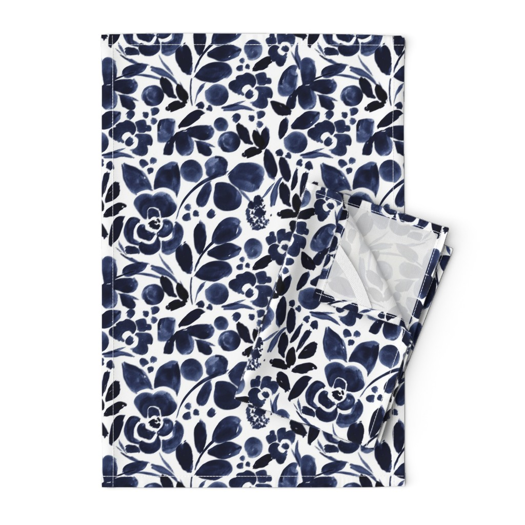 Orpington Tea Towels featuring Navy Floral by crystal_walen