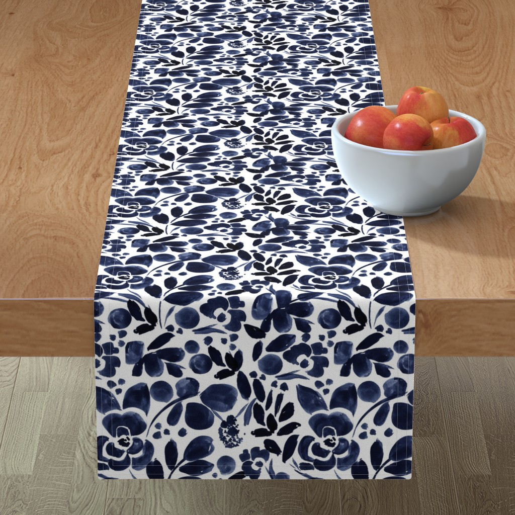 Minorca Table Runner featuring Navy Floral by crystal_walen