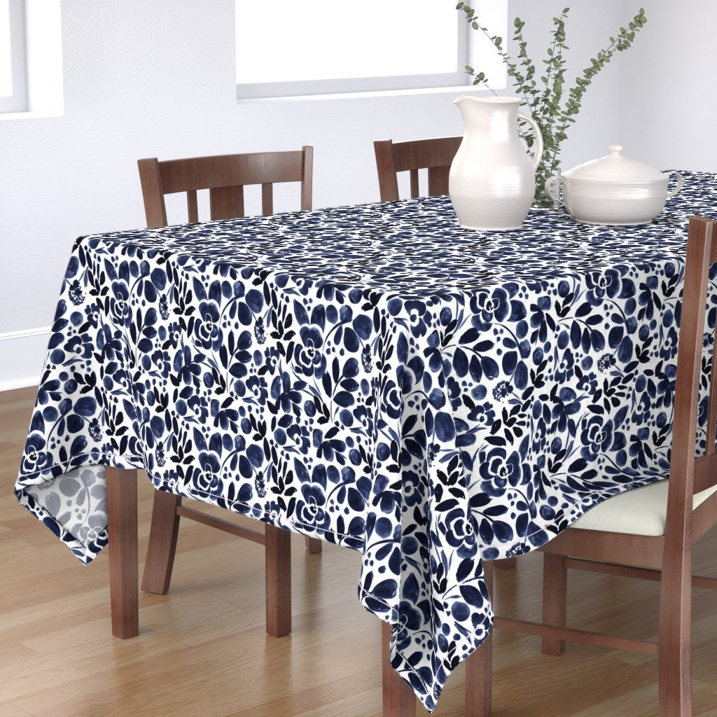 Bantam Rectangular Tablecloth featuring Navy Floral by crystal_walen