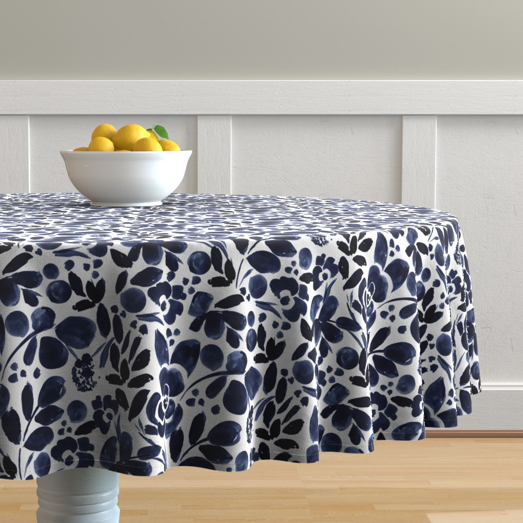 Malay Round Tablecloth featuring Navy Floral by crystal_walen