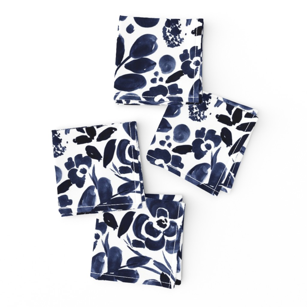 Frizzle Cocktail Napkins featuring Navy Floral by crystal_walen
