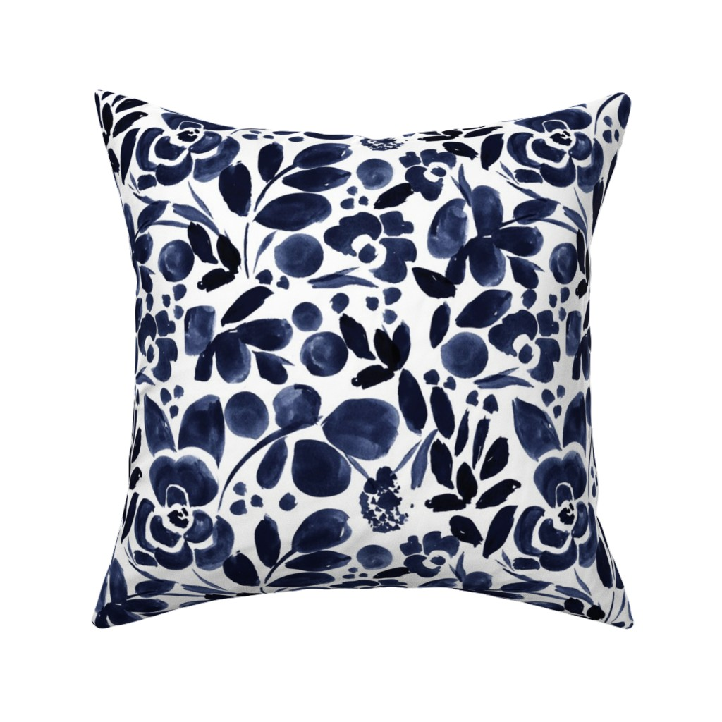 Catalan Throw Pillow featuring Navy Floral by crystal_walen