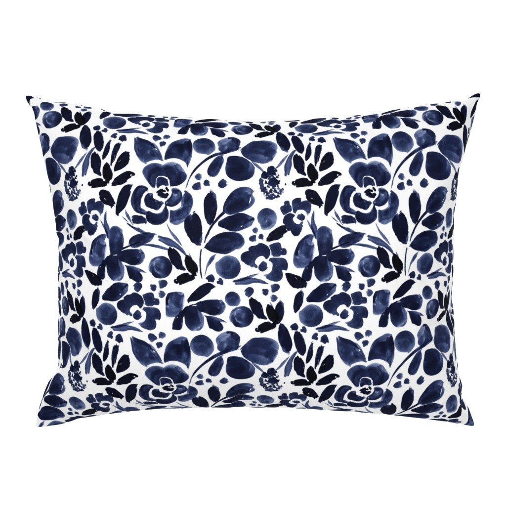 Campine Pillow Sham featuring Navy Floral by crystal_walen