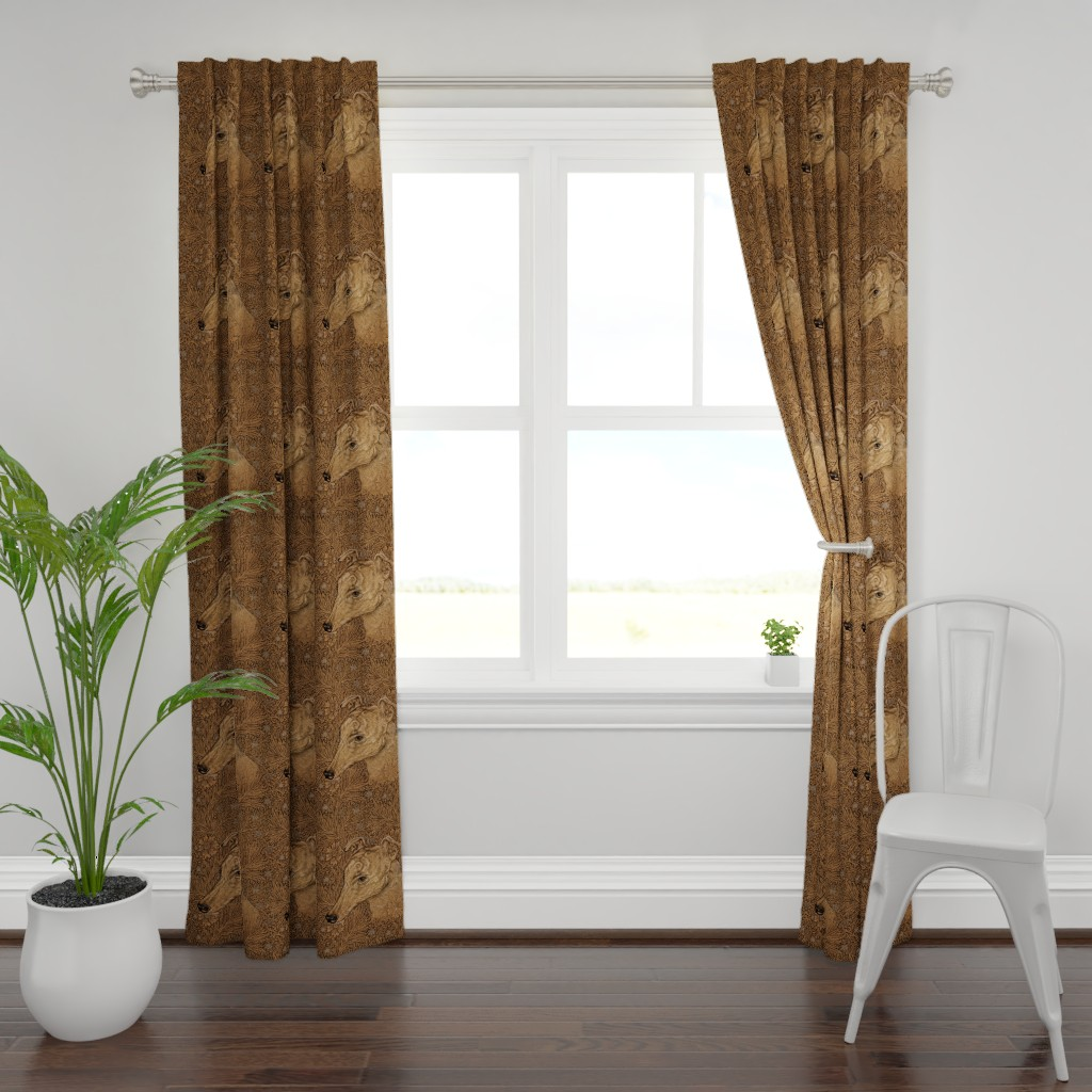 Plymouth Curtain Panel featuring  Yumi the greyhound on Morris marigolds by iizzard