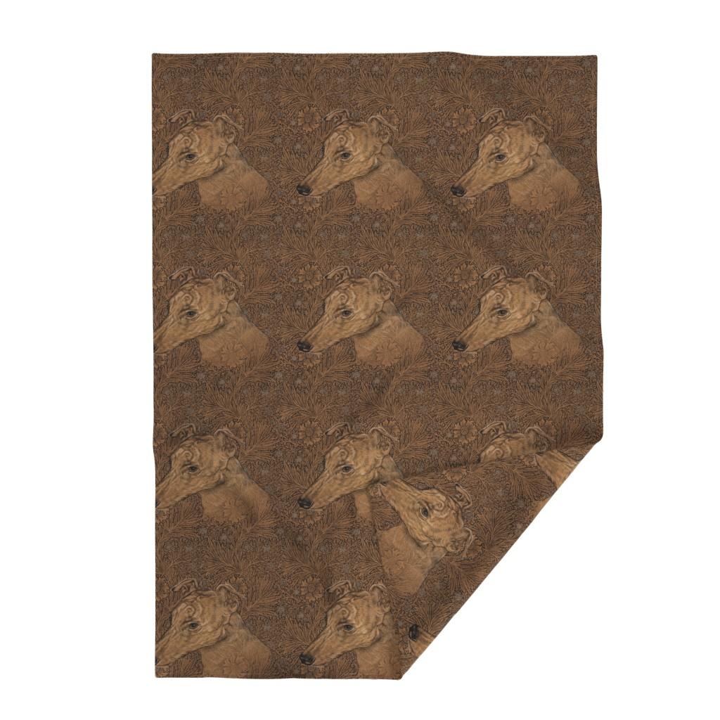 Lakenvelder Throw Blanket featuring  Yumi the greyhound on Morris marigolds by iizzard