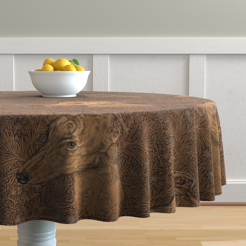 Malay Round Tablecloth featuring  Yumi the greyhound on Morris marigolds by iizzard