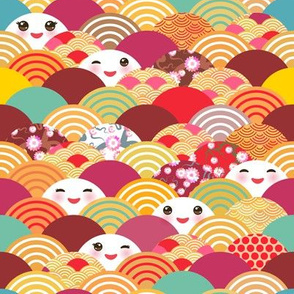 spring in japan, japanese cherry sakura flowers, cute kawaii faces with a smile, bright color