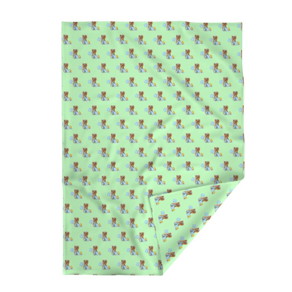 Lakenvelder Throw Blanket featuring Yorkie have fun on green by barbyyy