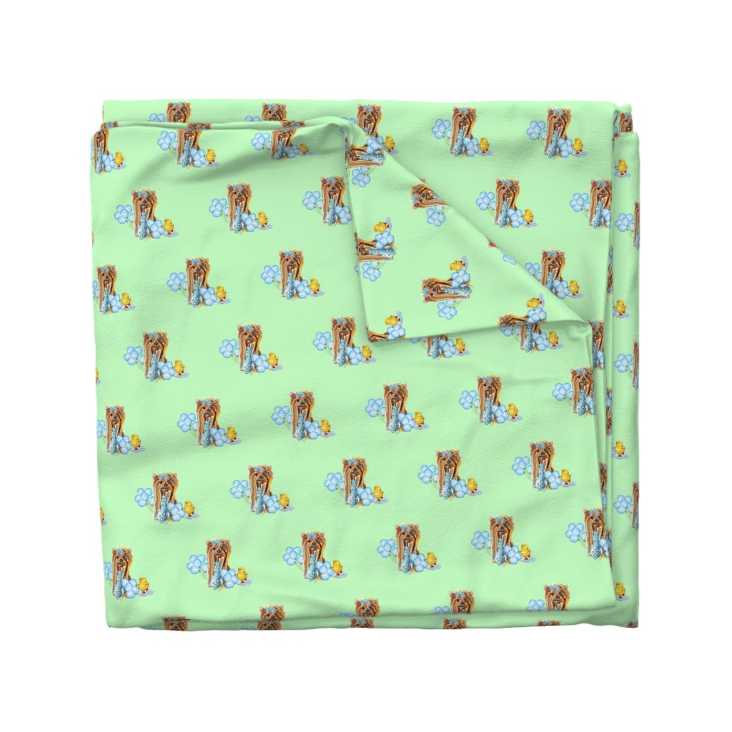 Wyandotte Duvet Cover featuring Yorkie have fun on green by barbyyy